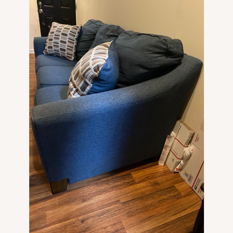 Blue Sofa with Original Accent Pillows - image-3