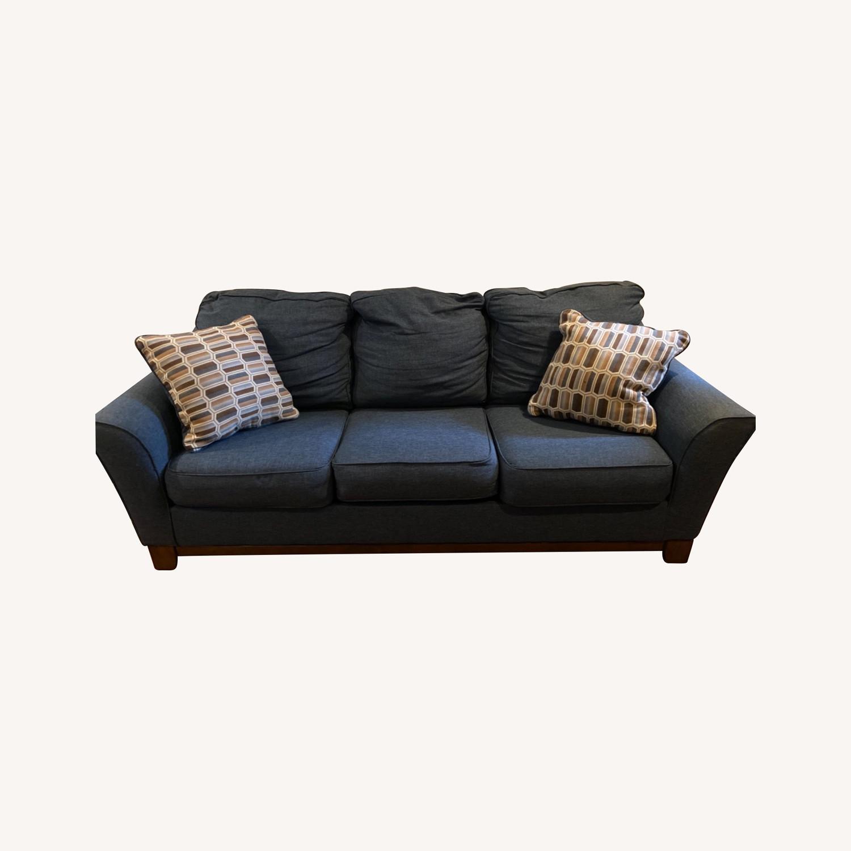 Blue Sofa with Original Accent Pillows - image-0