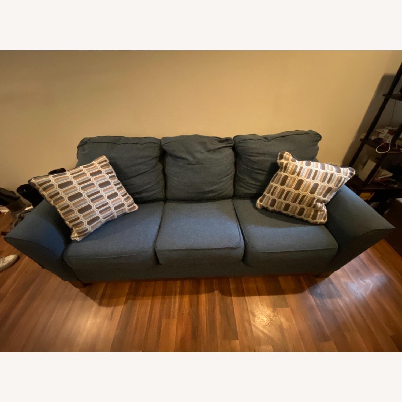 Blue Sofa with Original Accent Pillows - image-2