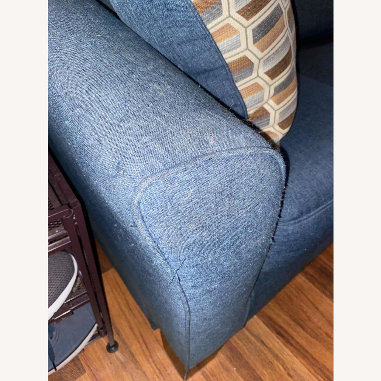 Blue Sofa with Original Accent Pillows - image-5