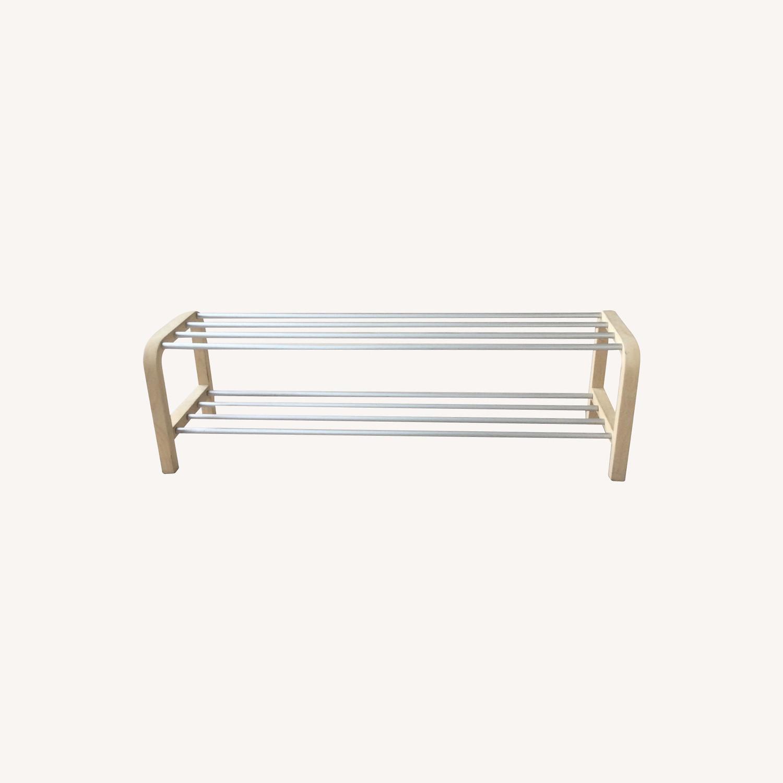 Designer Shoe Storage Birch and Aluminum Bench - image-0