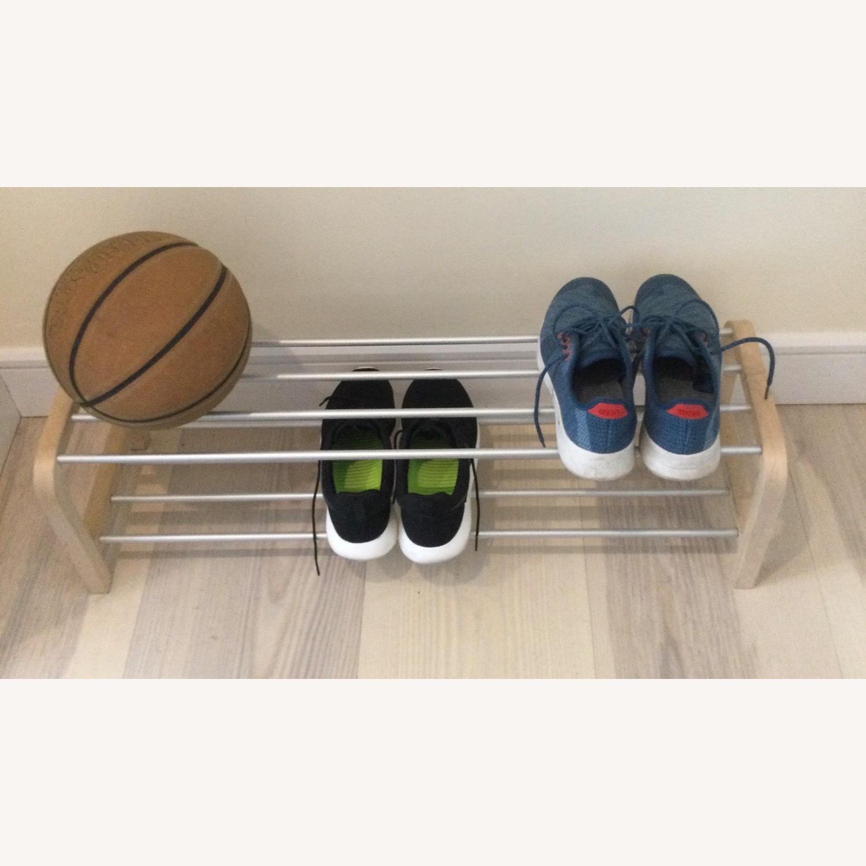 Designer Shoe Storage Birch and Aluminum Bench - image-5
