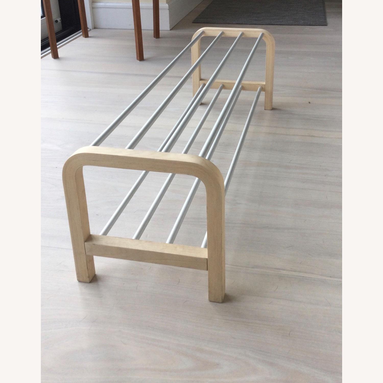 Designer Shoe Storage Birch and Aluminum Bench - image-4
