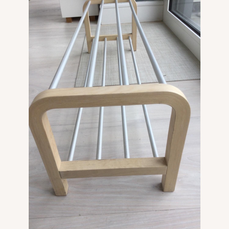 Designer Shoe Storage Birch and Aluminum Bench - image-2