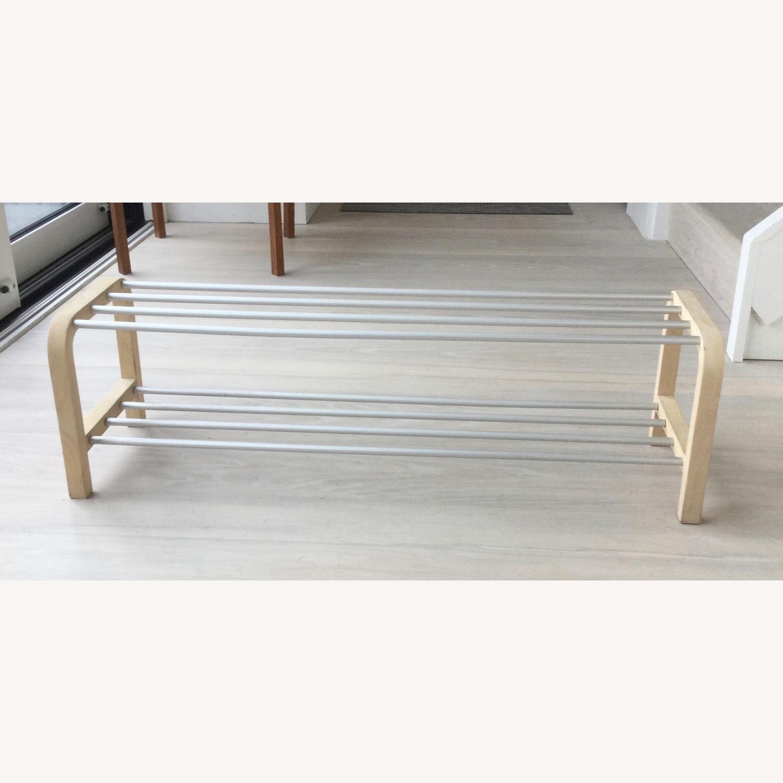 Designer Shoe Storage Birch and Aluminum Bench - image-1