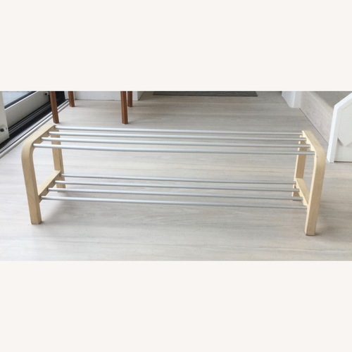 Used Designer Shoe Storage Birch and Aluminum Bench for sale on AptDeco