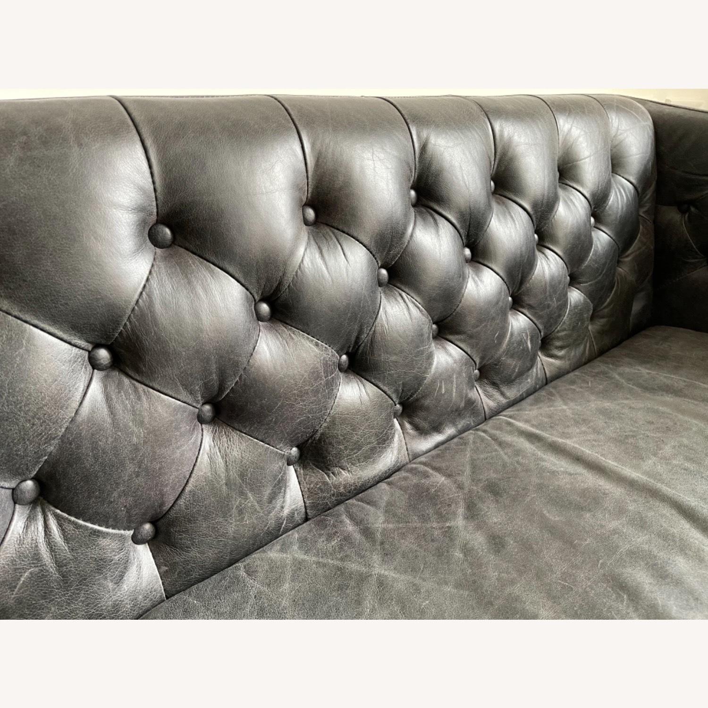 CB2 Saville Black Leather Tufted Sofa - image-3