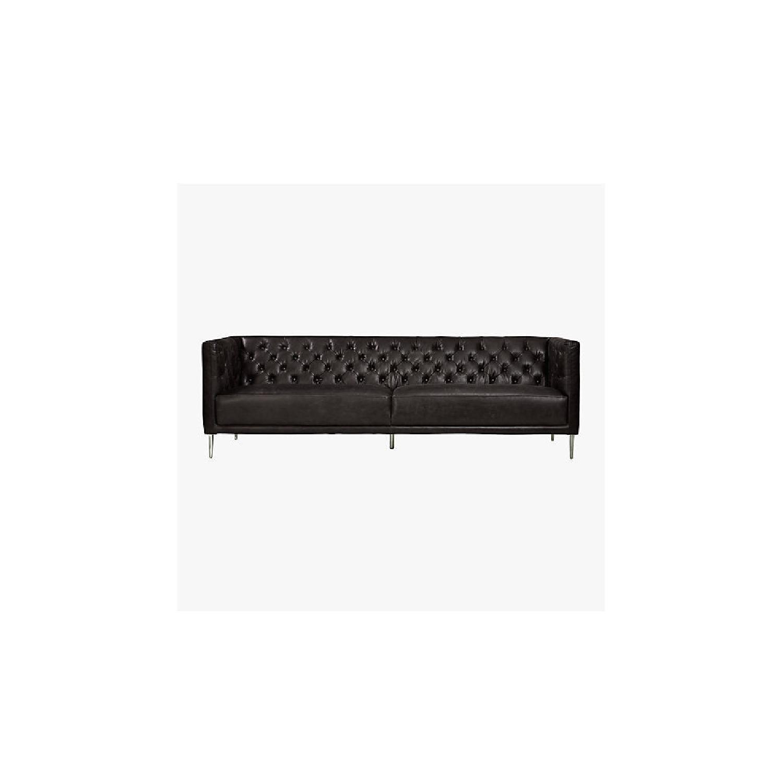 CB2 Saville Black Leather Tufted Sofa - image-0