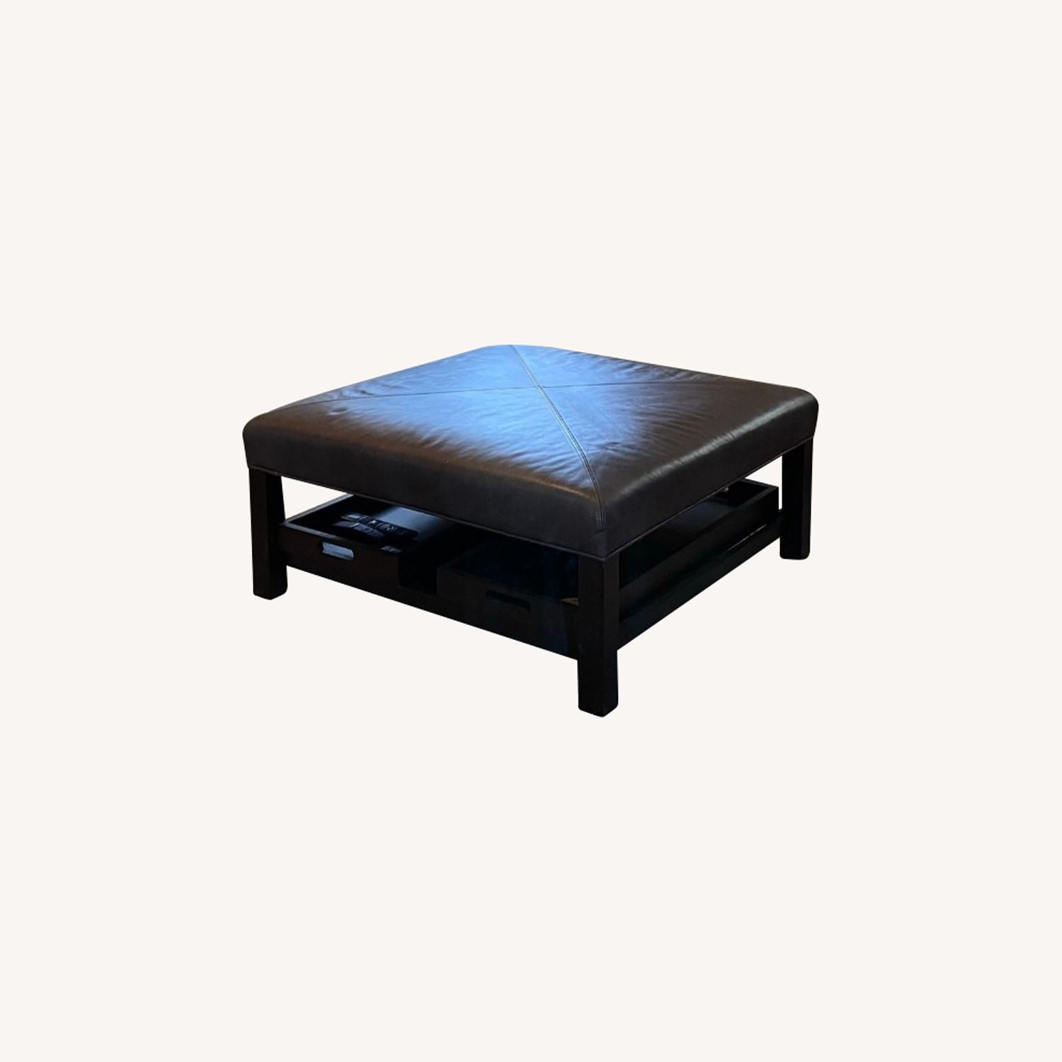 Bassett Leather Ottoman with Trays - image-0
