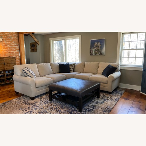Used Bassett Leather Ottoman with Trays for sale on AptDeco