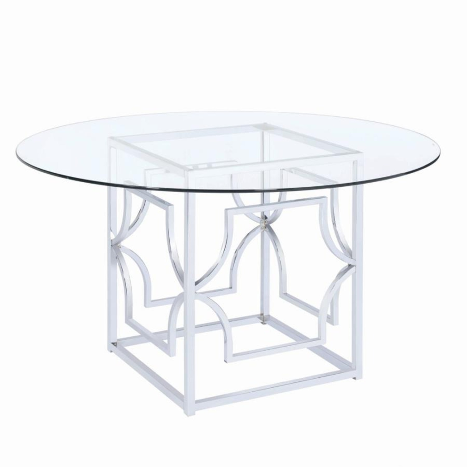 Dining Table In Chrome Patterned Base - image-1