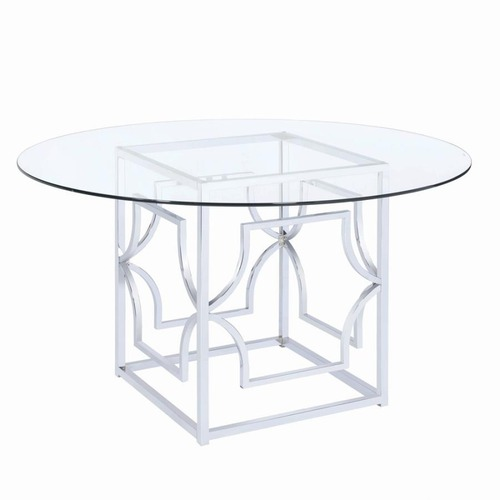Used Dining Table In Chrome Patterned Base for sale on AptDeco