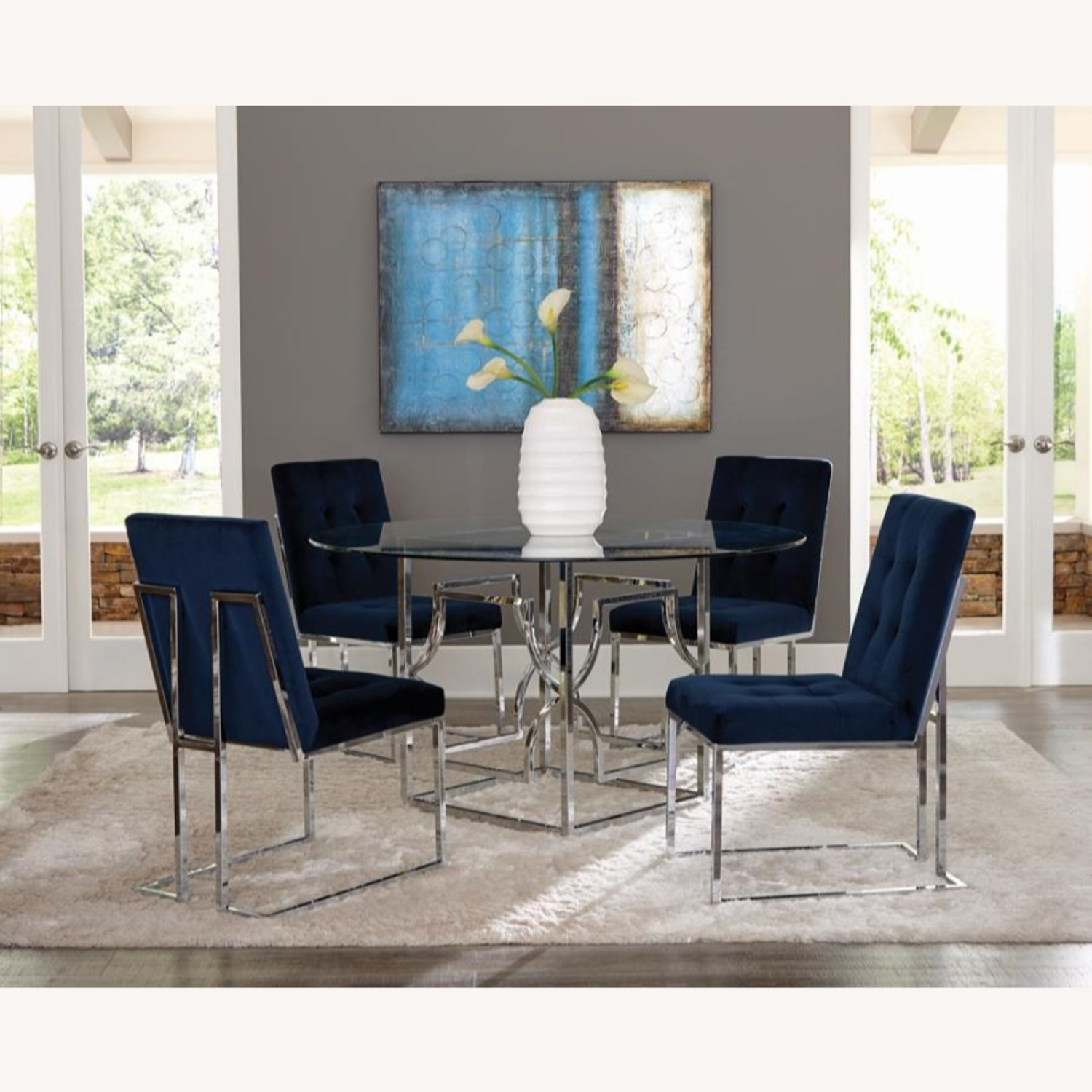 Dining Table In Chrome Patterned Base - image-4