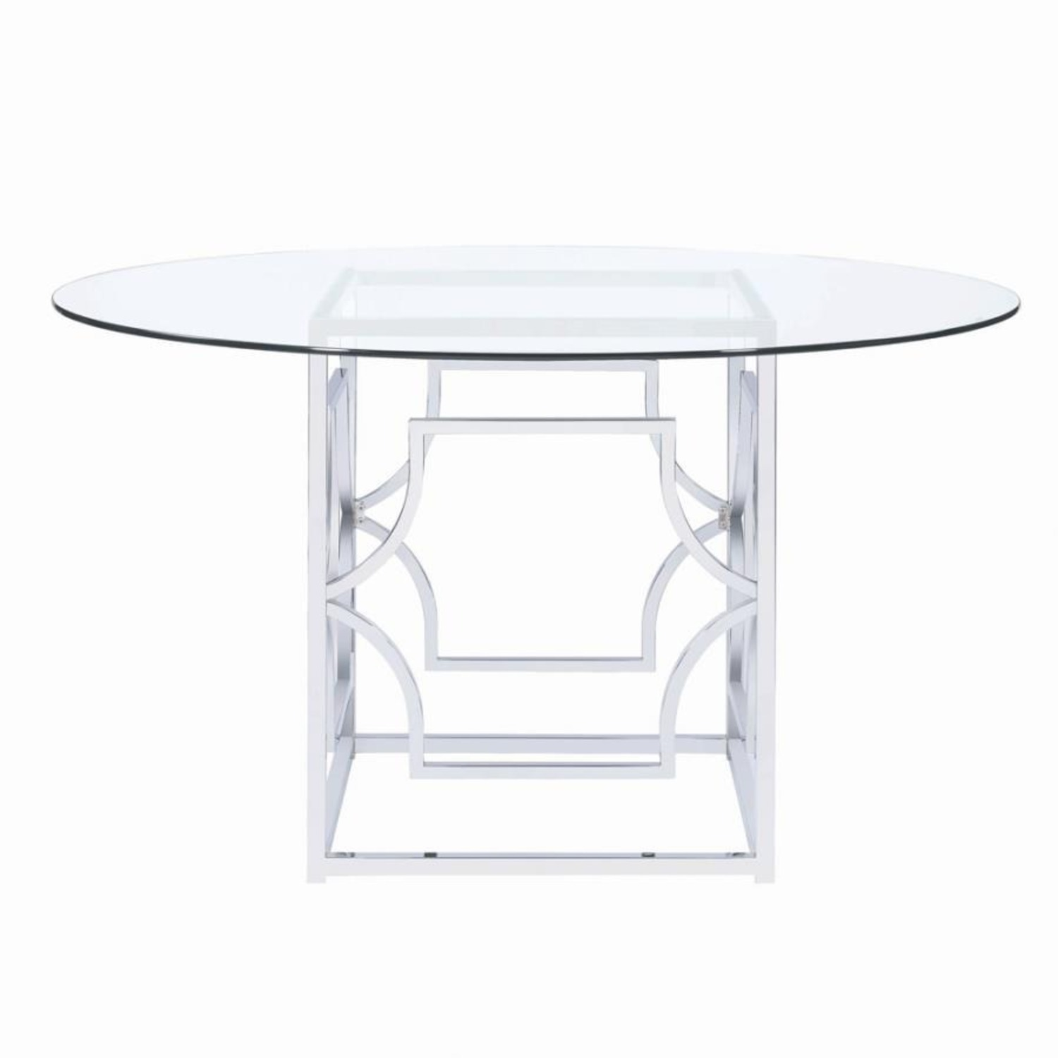 Dining Table In Chrome Patterned Base - image-2