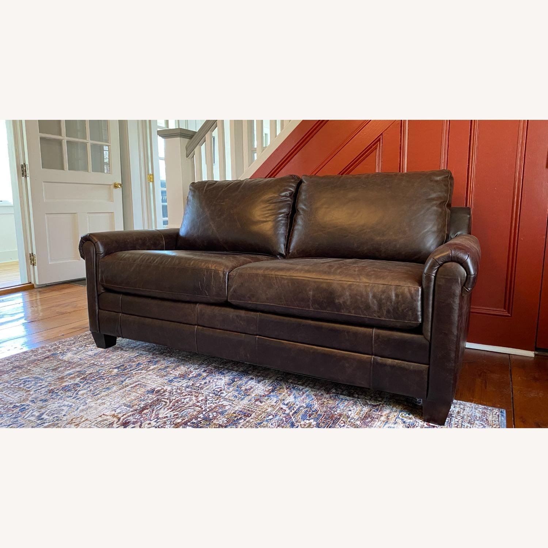 Bassett Leather Sleeper Sofa - image-1