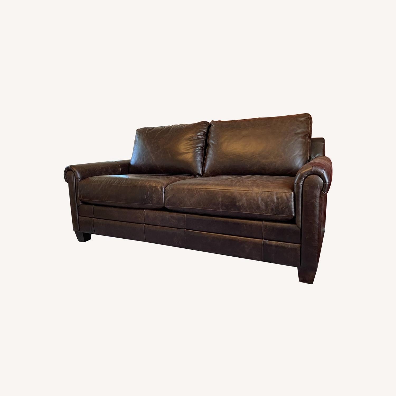 Bassett Leather Sleeper Sofa - image-0