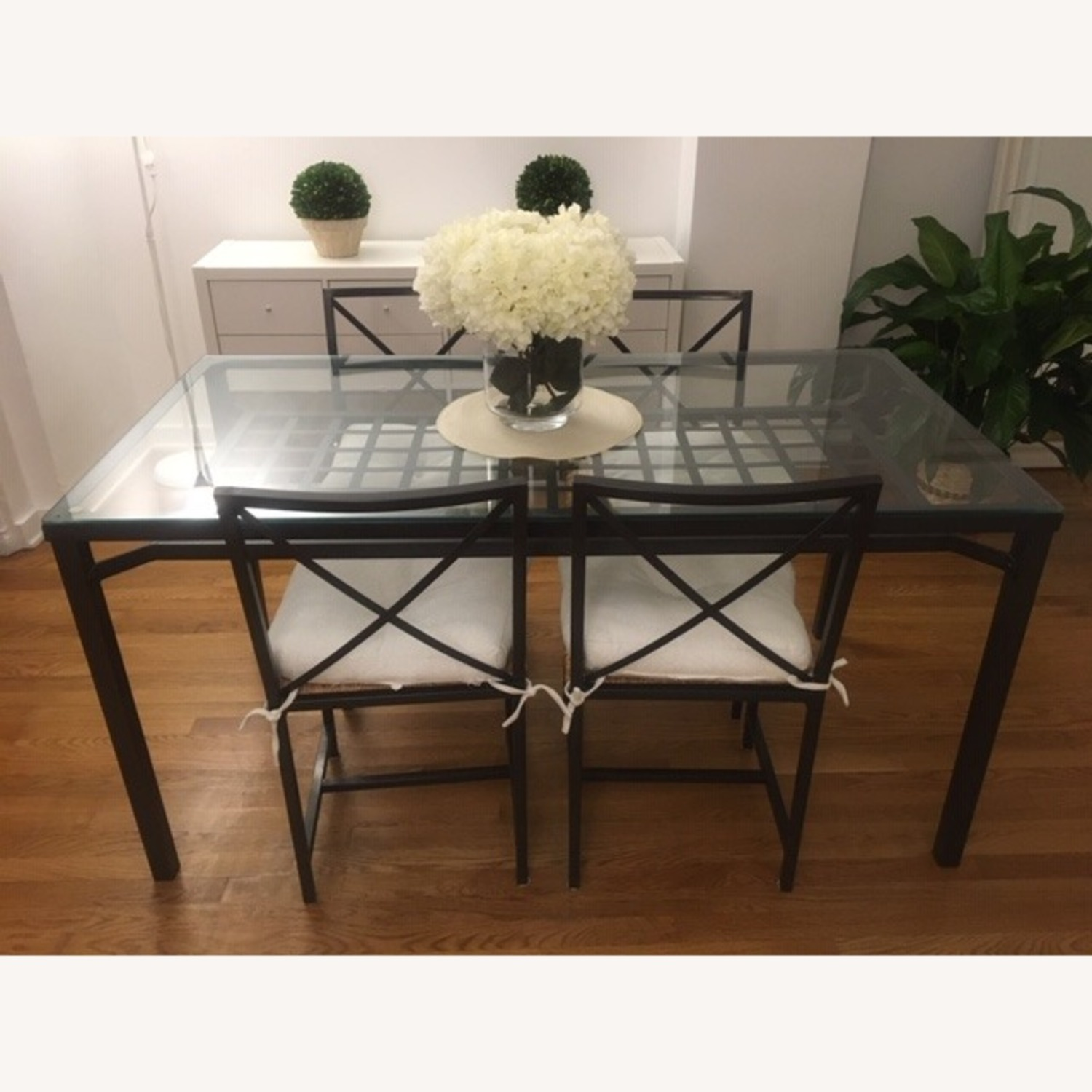 IKEA Glass Table+4Chairs - image-1