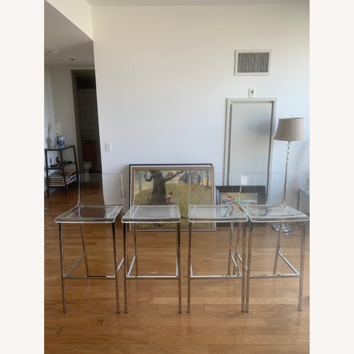 Used CB2 Chiaro Clear Bar Stools for sale on AptDeco