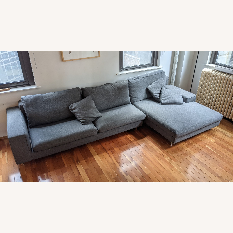 Modern Modular Sofa -Grey Fabric - image-1