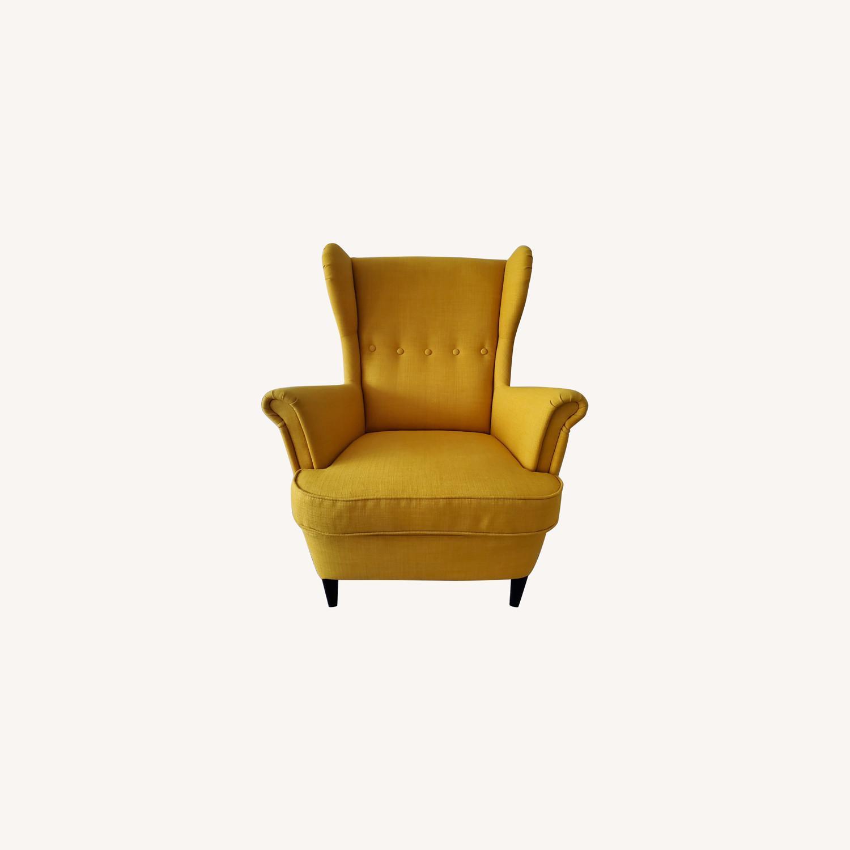IKEA STRANDMON Wing Chair with Ottoman - image-0
