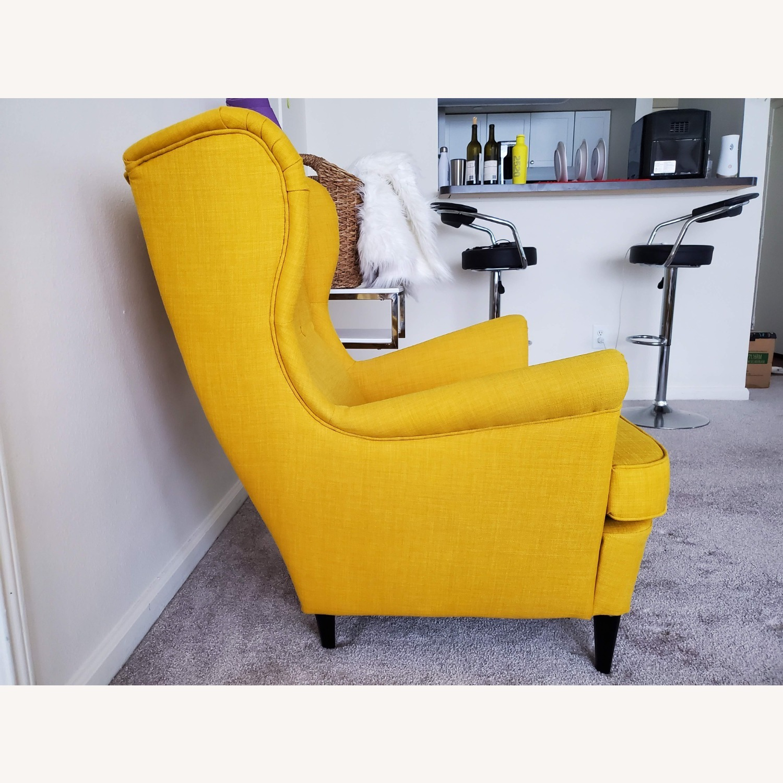 IKEA STRANDMON Wing Chair with Ottoman - image-3