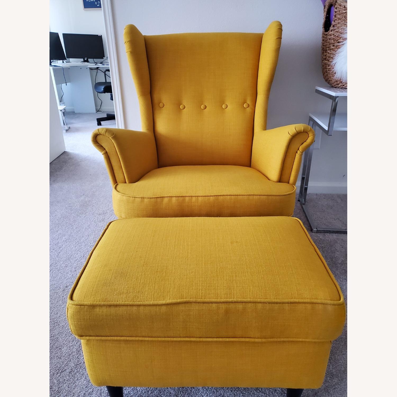 IKEA STRANDMON Wing Chair with Ottoman - image-4