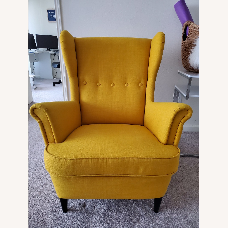IKEA STRANDMON Wing Chair with Ottoman - image-1