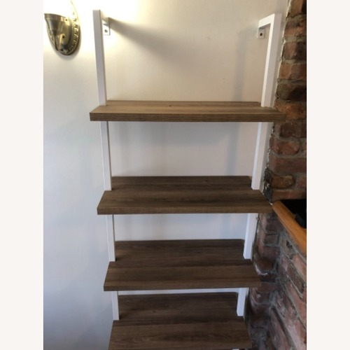 Used White and Natural Wood Bookcase for sale on AptDeco