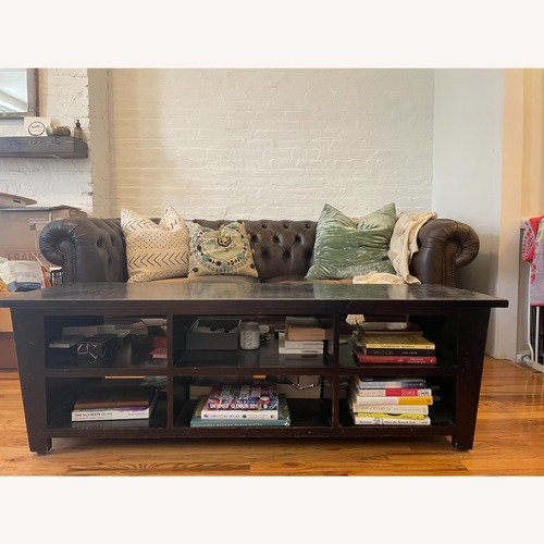 Used Pier 1 Wood Coffee Table/Media Console for sale on AptDeco