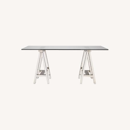 Used Williams Sonoma Home Mason Glass Top Table/Desk for sale on AptDeco