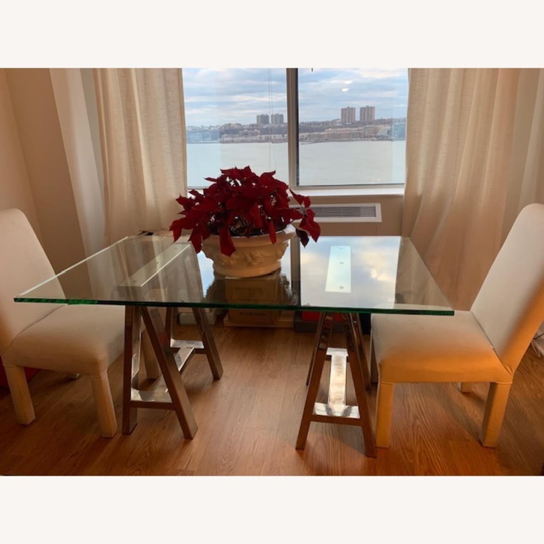 Williams Sonoma Home Mason Glass Top Table/Desk - image-1