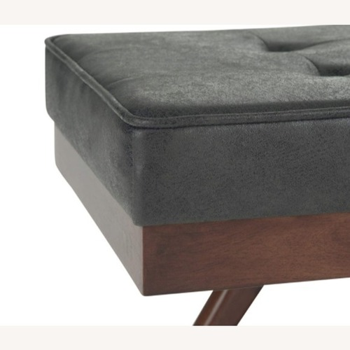 Used Luca Leather Bench Black/Cognac for sale on AptDeco