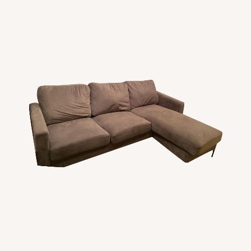 Used 9 by Novogratz Grey Velvet Sectional for sale on AptDeco