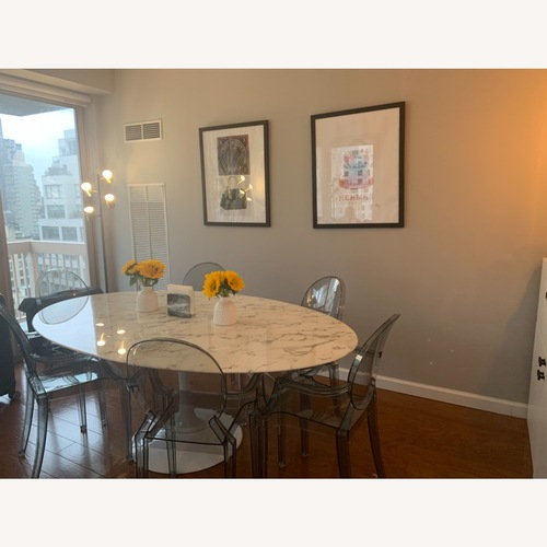 """Used LexMod 78"""" Oval Marble Dining Table for sale on AptDeco"""