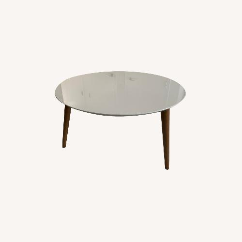Used Mid-Century Modern Round Coffee Table, White for sale on AptDeco