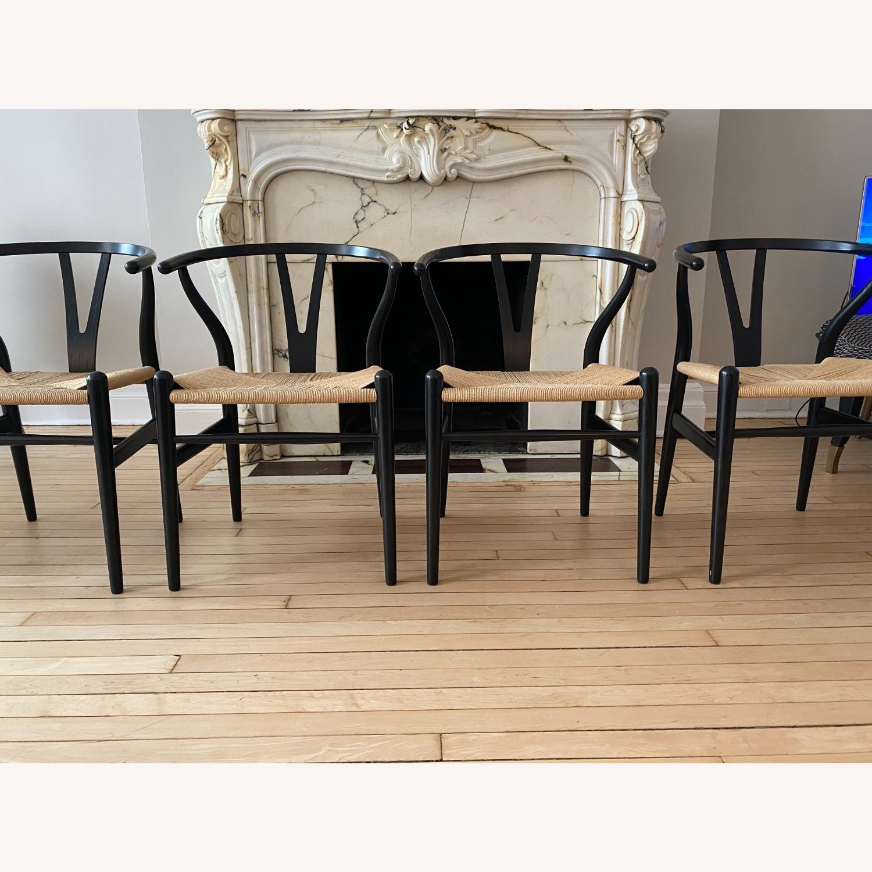 CH24 Black Wishbone Chairs set of 4 - image-1