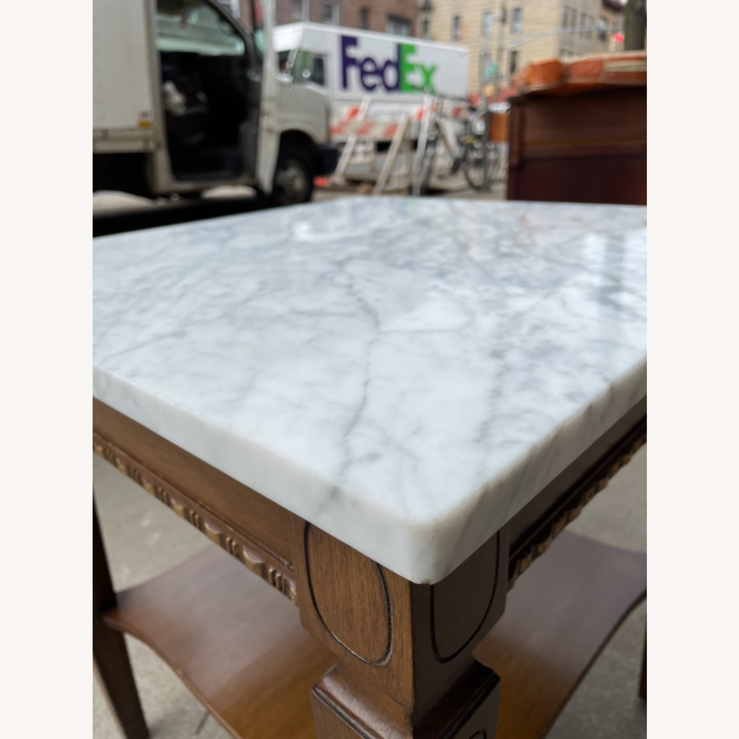 Vintage 1970s Marble Top Side Table - image-2