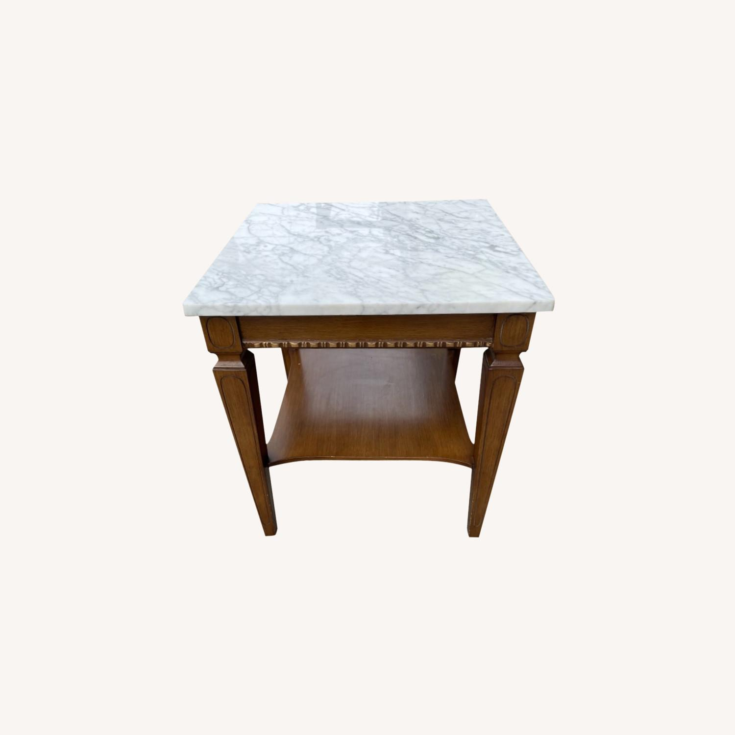 Vintage 1970s Marble Top Side Table - image-0