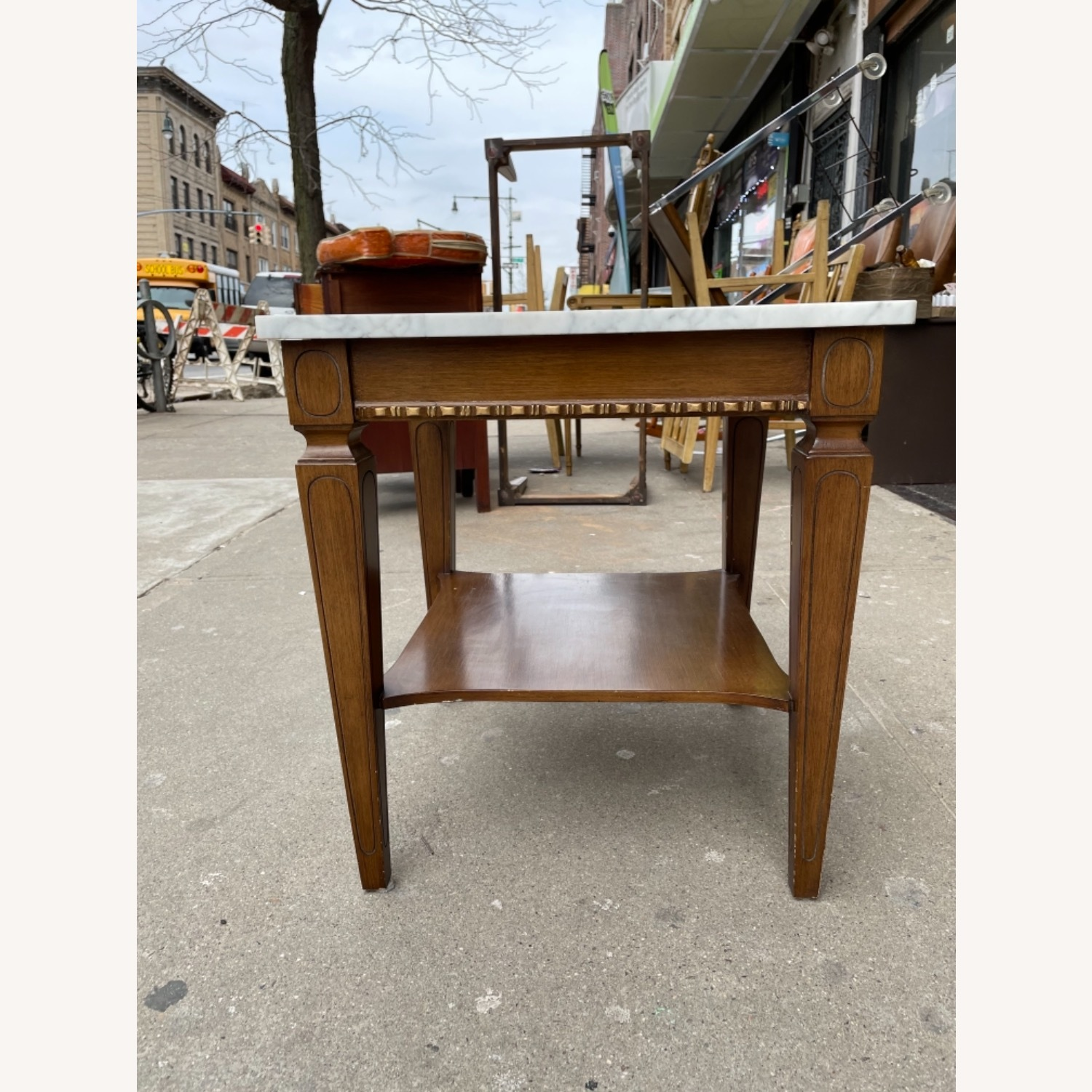 Vintage 1970s Marble Top Side Table - image-1