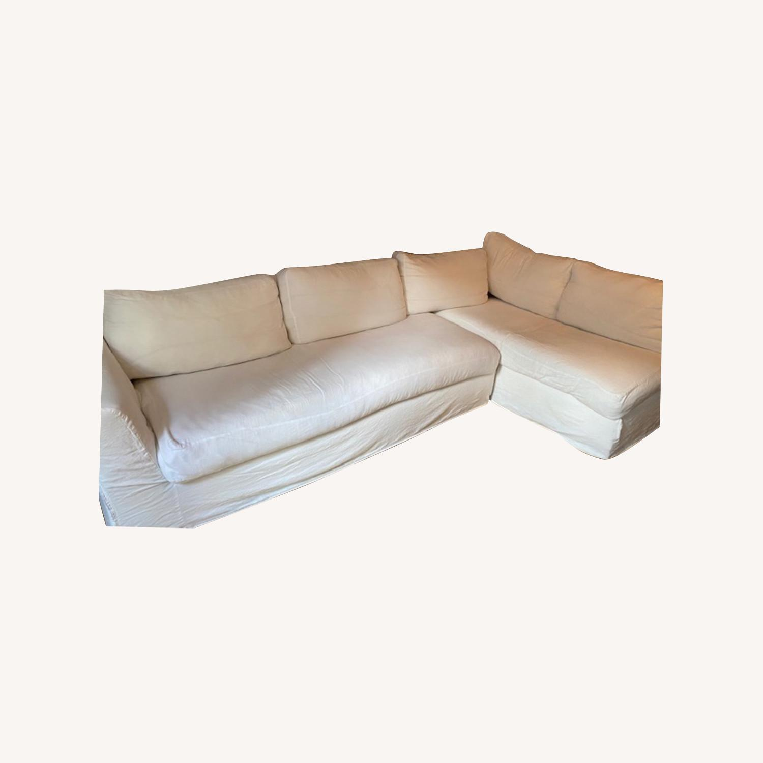 Shabby Chic L shaped Linen Sectional - image-0