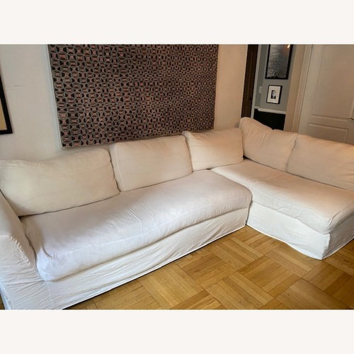 Used Shabby Chic L shaped Linen Sectional for sale on AptDeco