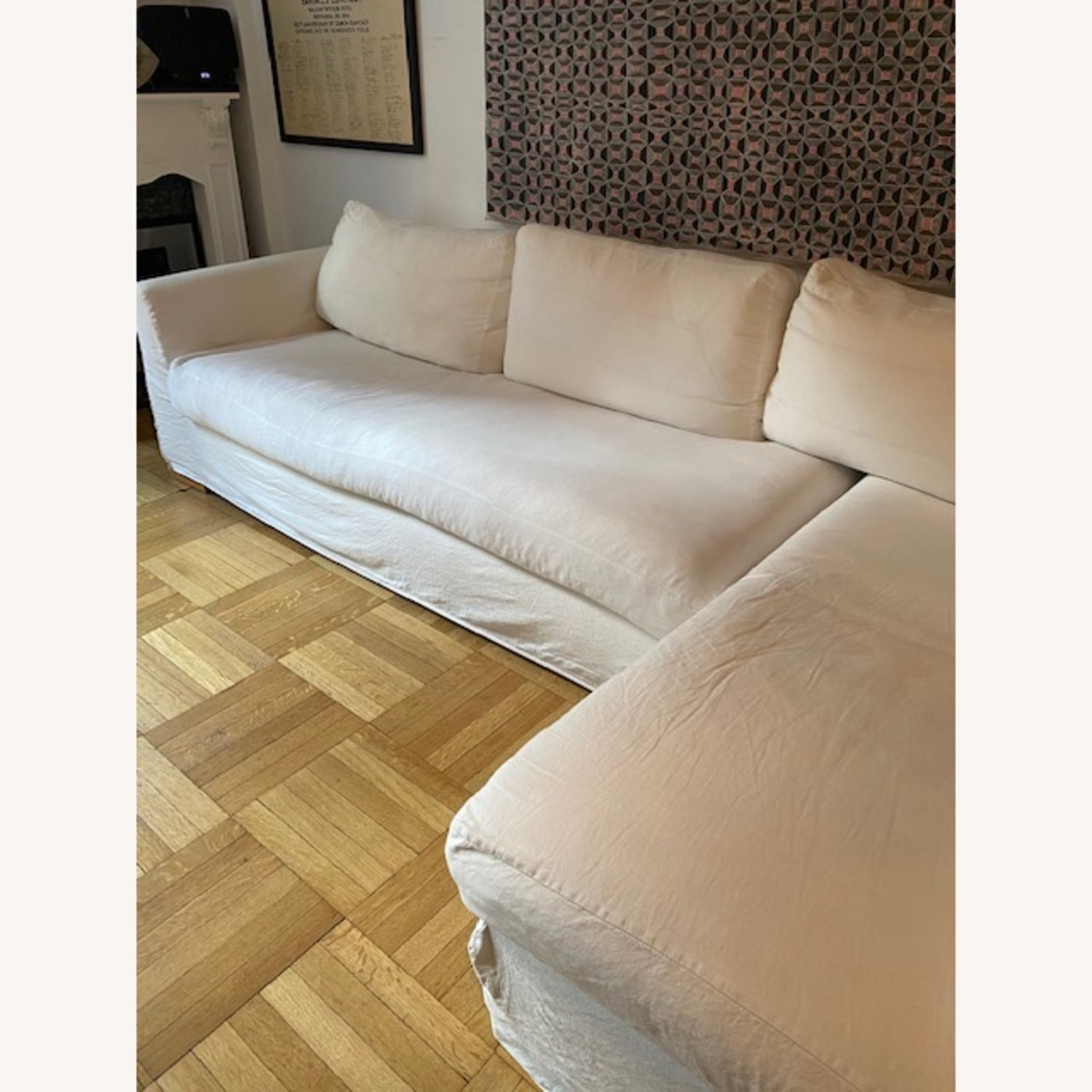 Shabby Chic L shaped Linen Sectional - image-4