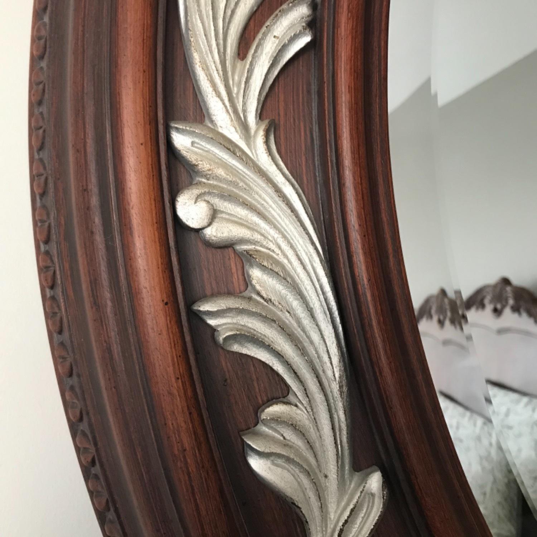 Carved Solid Mahogany Beveled Mirror - image-5
