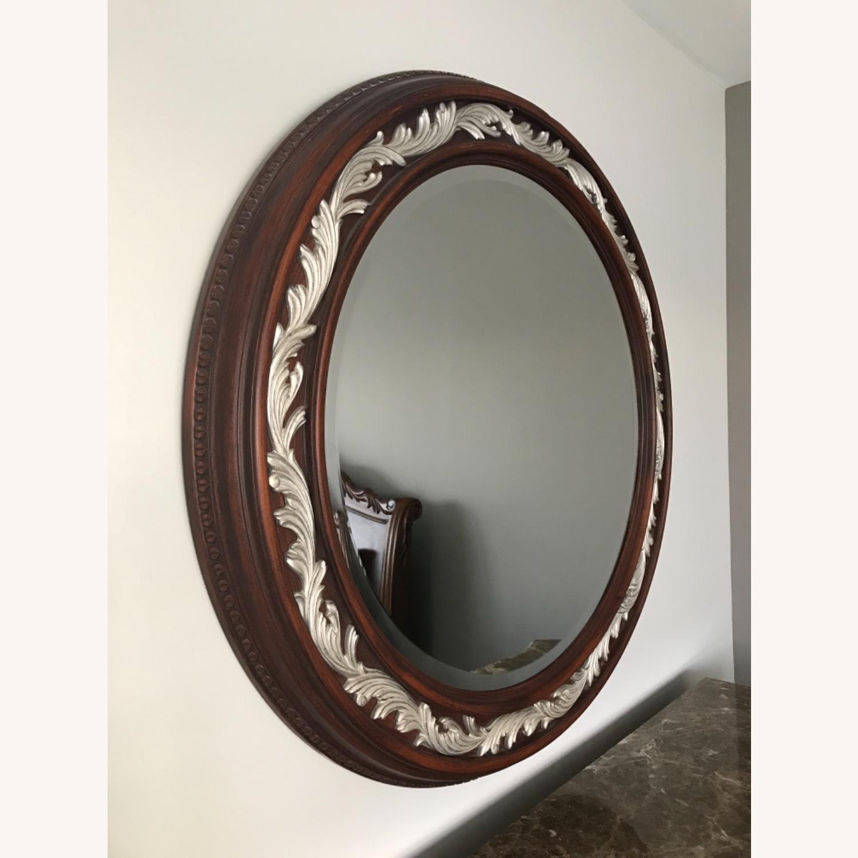 Carved Solid Mahogany Beveled Mirror - image-1