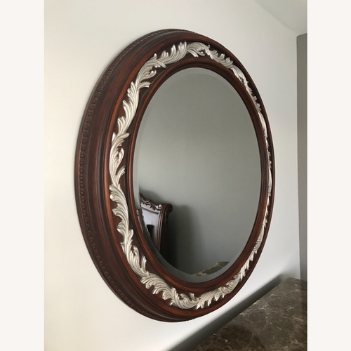 Used Carved Solid Mahogany Beveled Mirror for sale on AptDeco
