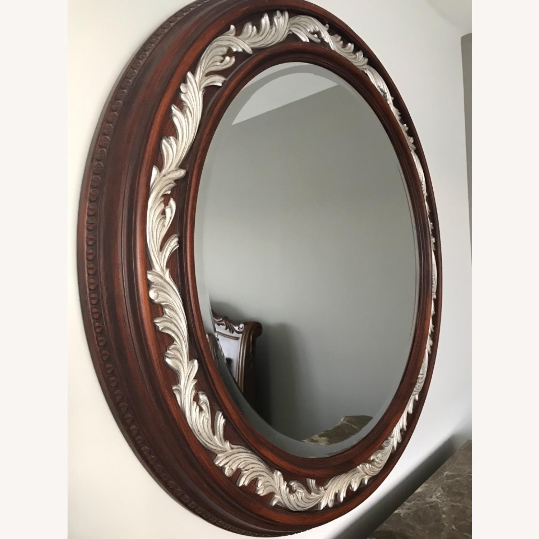 Carved Solid Mahogany Beveled Mirror - image-2