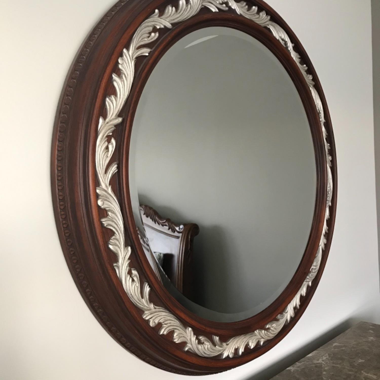 Carved Solid Mahogany Beveled Mirror - image-4