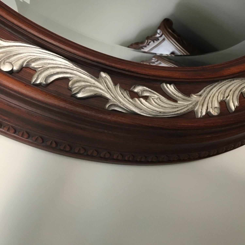 Carved Solid Mahogany Beveled Mirror - image-3