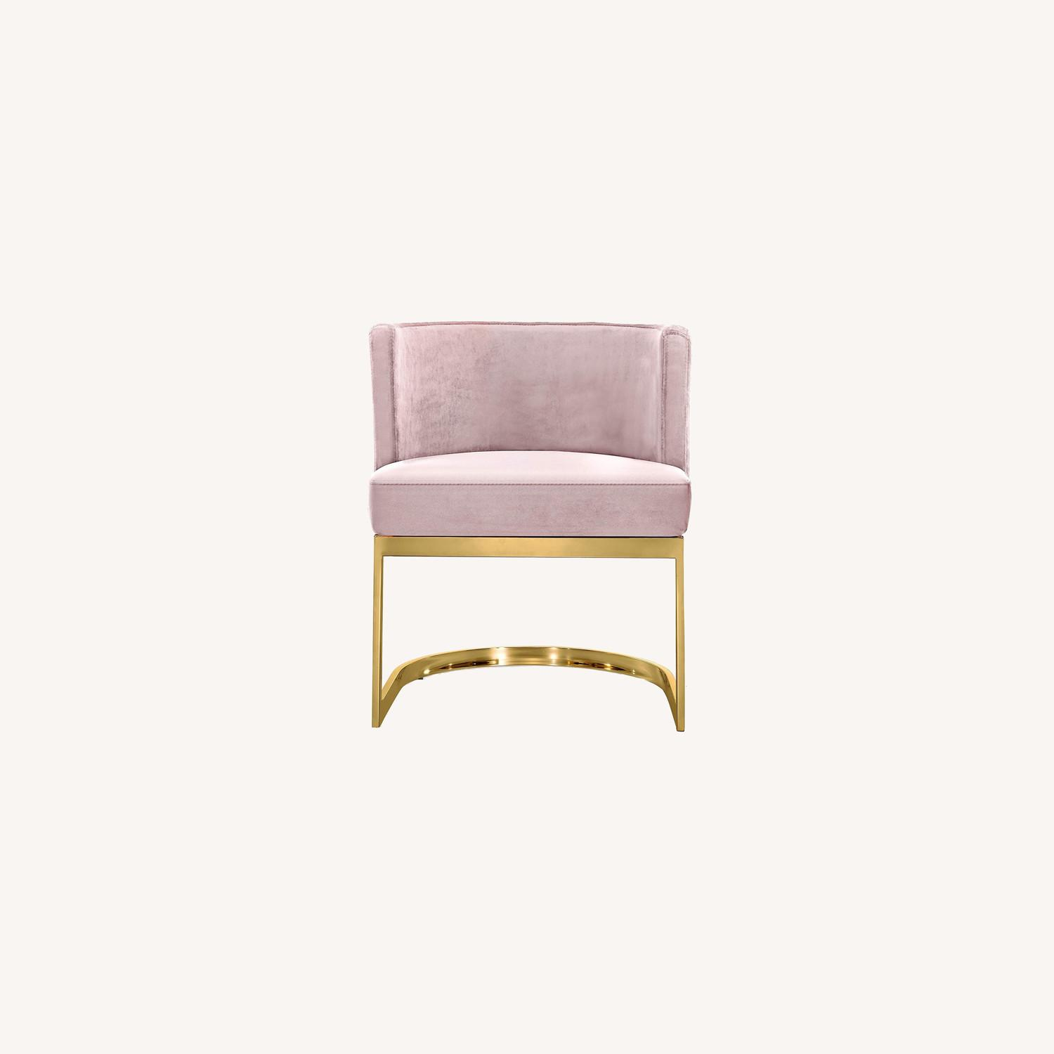 Home Meridian Pink Velvet Dining Chairs - image-0