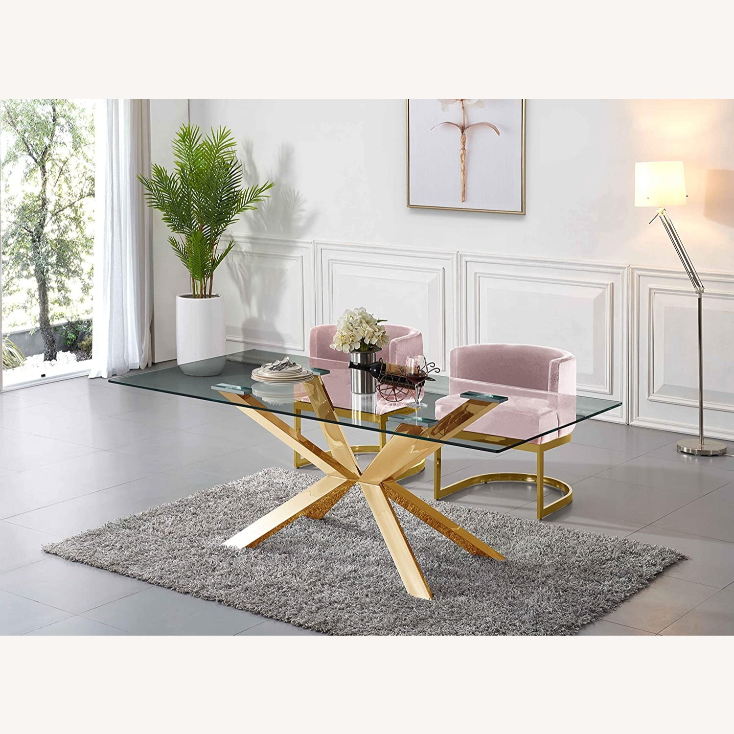 Home Meridian Pink Velvet Dining Chairs - image-3